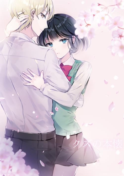 awaya mugi and yasuraoka hanabi (kuzu no honkai) drawn by sandeul