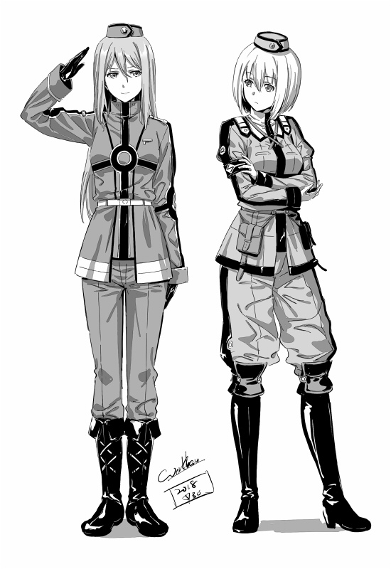2nd lieutenant dominique and tank officer virginie (eiyuu densetsu and etc) drawn by werkbau