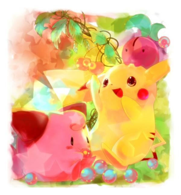 cherubi, cleffa, and pikachu (pokemon) drawn by yoshi (danball)