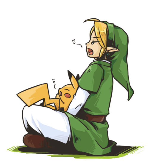 link and pikachu (pokemon, super smash bros., and the legend of zelda) drawn by ayu (ponzu)