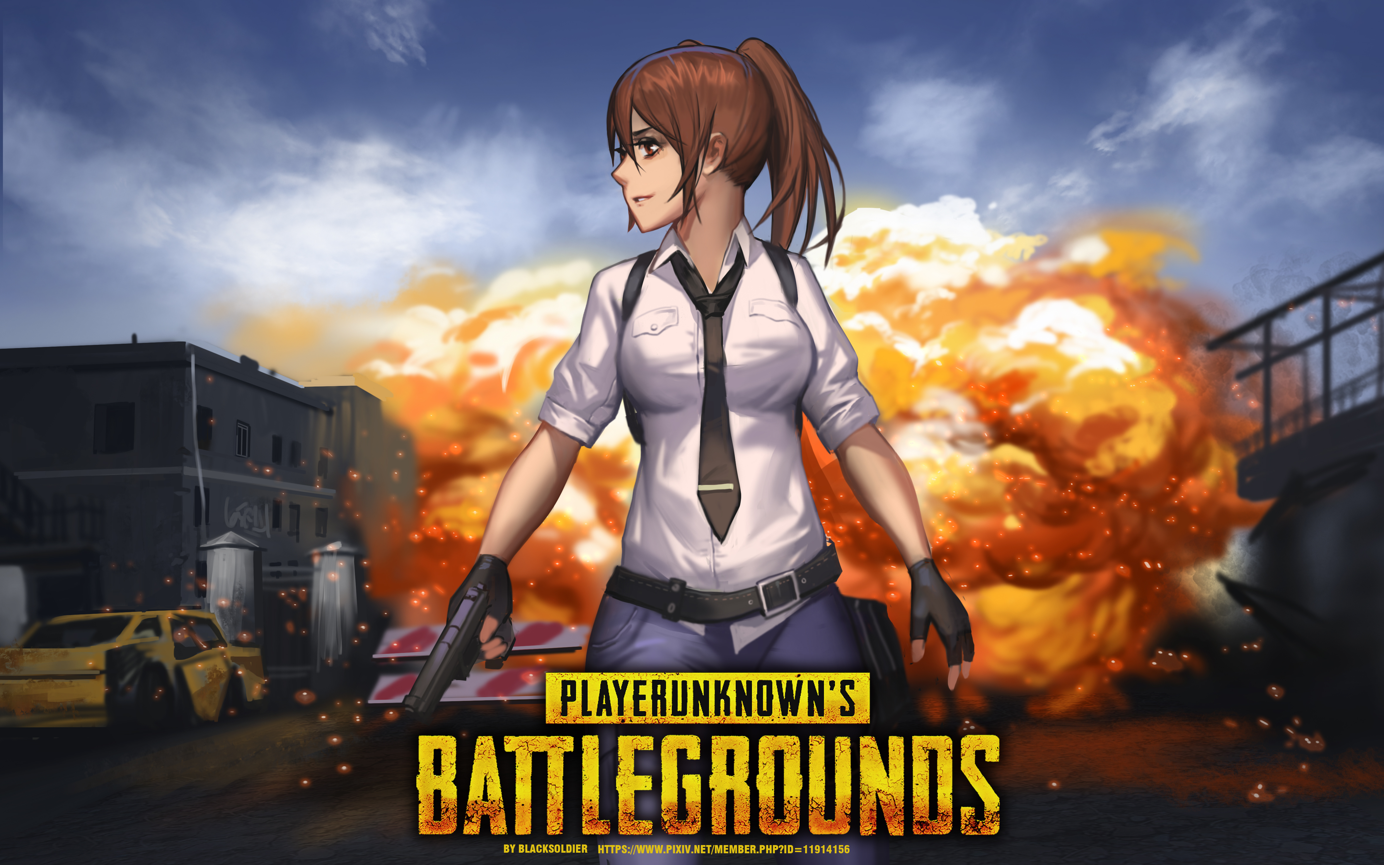 Woman With Guns Playerunknown S Battlegrounds Artwork: Playerunknown's Battlegrounds Drawn By Black Soldier