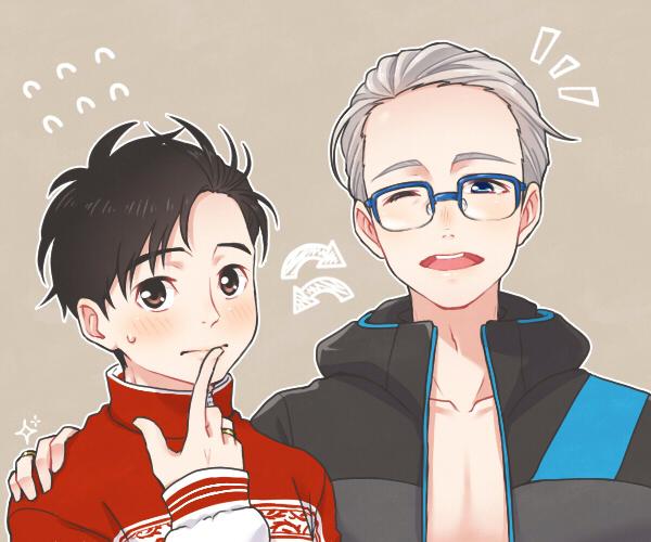 katsuki yuuri and viktor nikiforov (yuri!!! on ice) drawn by ruei (chicking)