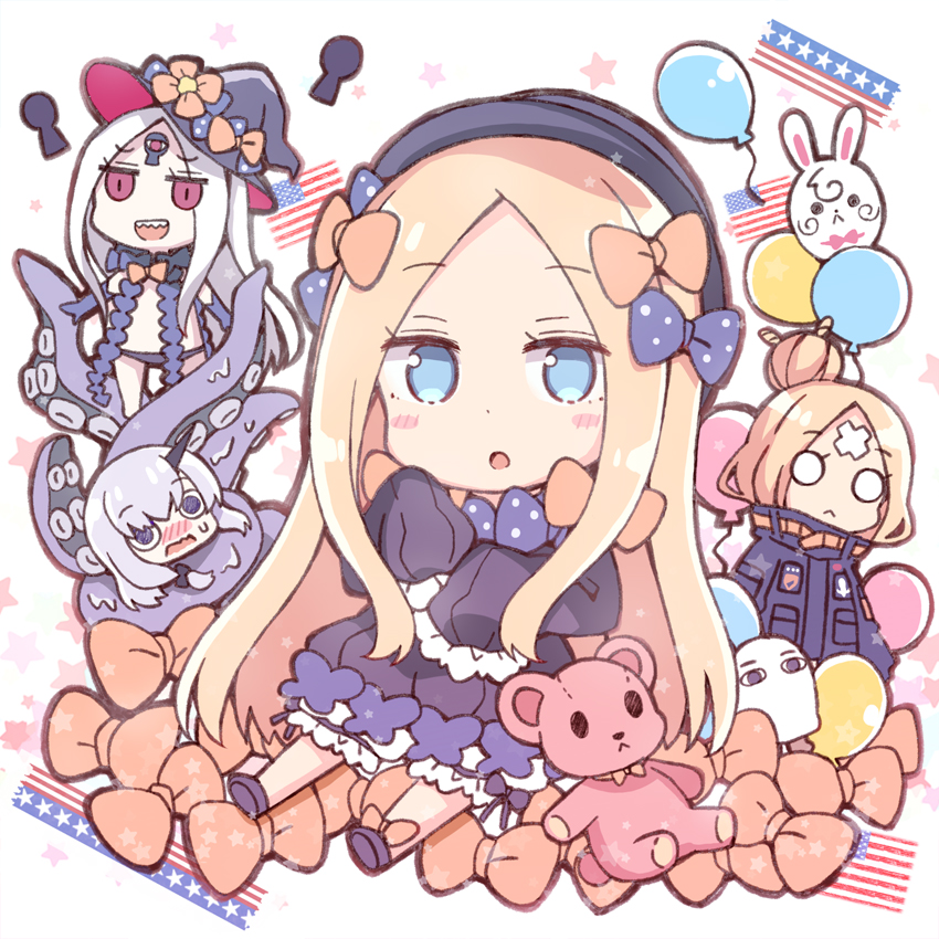 abigail williams, fou, lavinia whateley, and medjed (fate/grand order and etc) drawn by rioshi