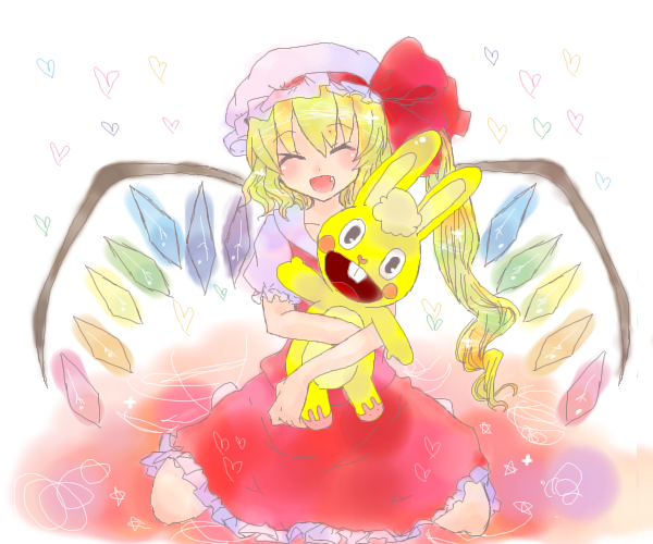 cuddles and flandre scarlet (happy tree friends and touhou) drawn by coolier