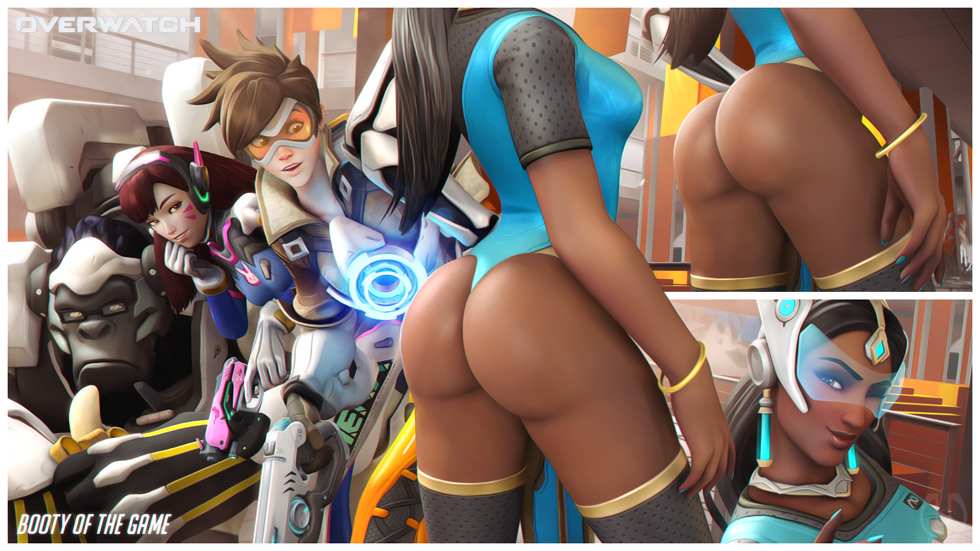 All Overwatch Girls Naked d.va, tracer, symmetra, and winston (overwatch) drawn
