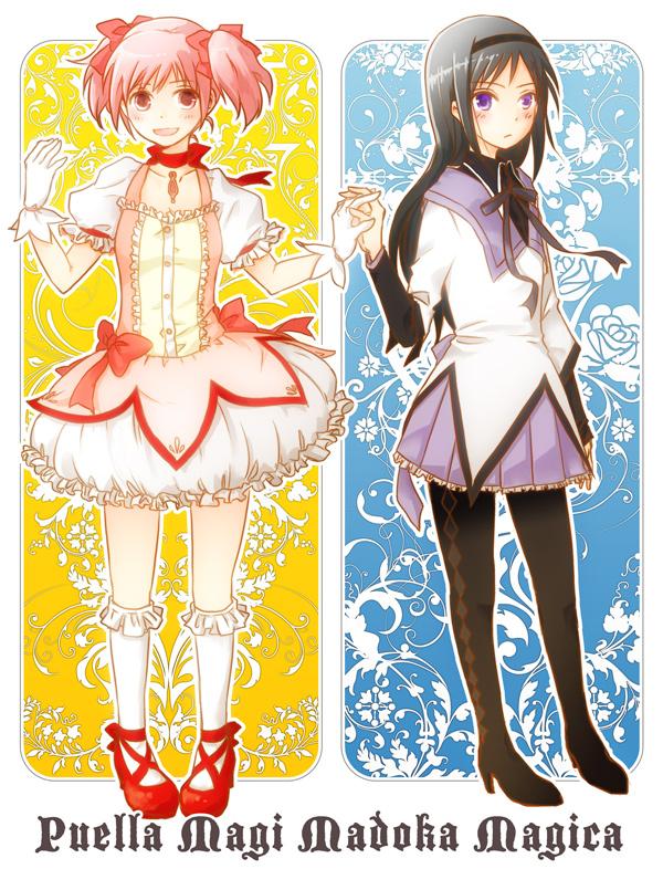 akemi homura and kaname madoka (mahou shoujo madoka magica) drawn by kissa