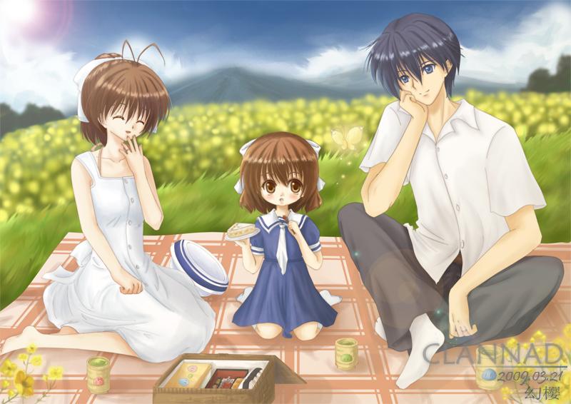 Furukawa Nagisa Okazaki Tomoya And Okazaki Ushio Clannad And 1