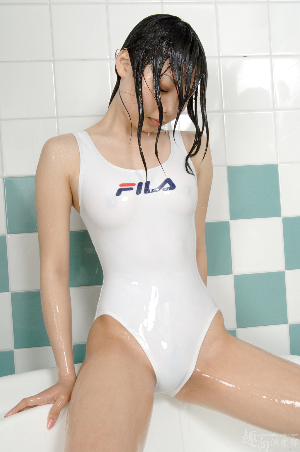 One swimsuit girl piece wet japanese