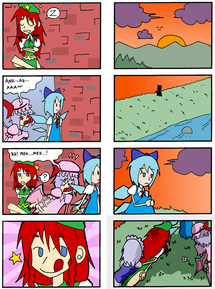 cirno, hong meiling, izayoi sakuya, peko-chan, and remilia scarlet (fujiya and etc) drawn by setz