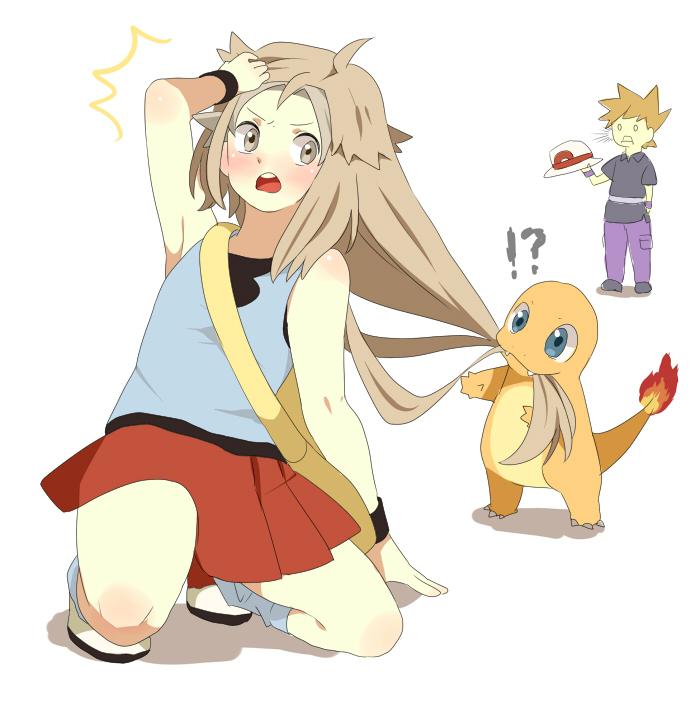Araragi(pokemon) bag blonde_hair blue_eyes bow brown_eyes brown_hair d(pixiv544157) earrings green_eyes hat heart