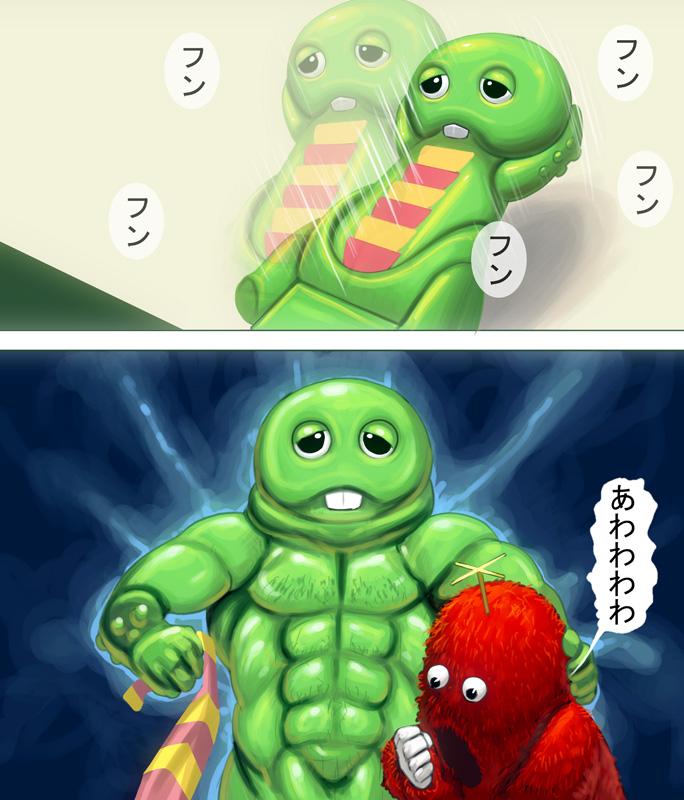 gachapin and mukku (hirake! ponkikki) drawn by masao