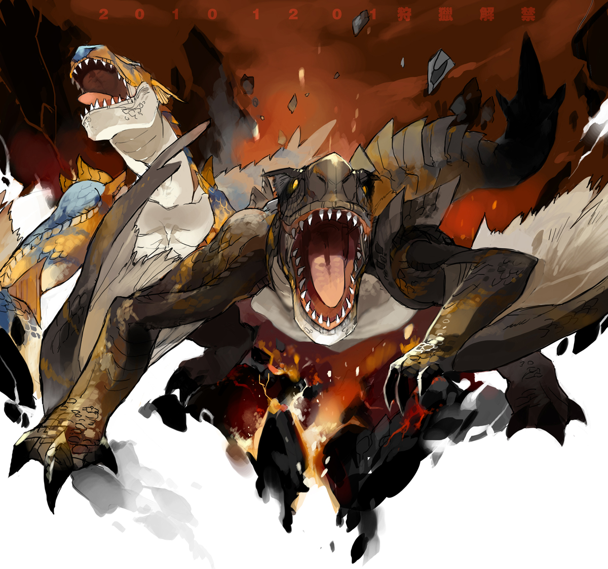 Tigrex And Brute Tigrex Monster Hunter Drawn By Starshadowmagician Danbooru Brute tigrex shows up at level 6 while the tempered version shows up at level 7. brute tigrex monster hunter drawn