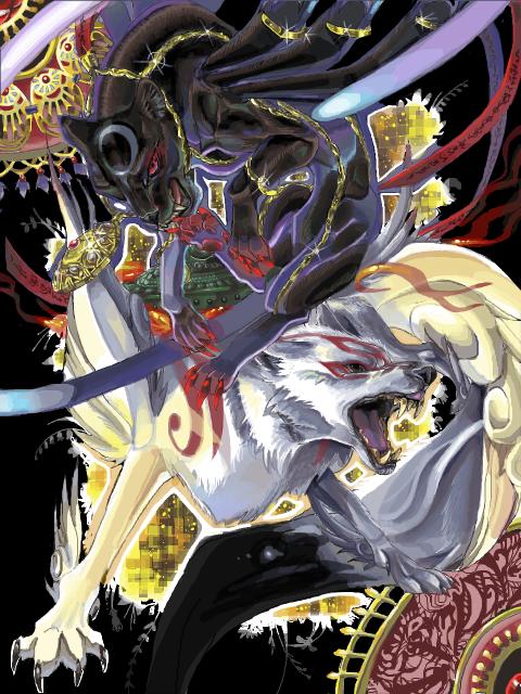 amaterasu and bayonetta (bayonetta and ookami (game)) drawn by makodonburi