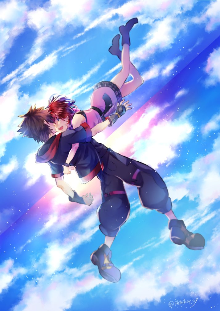 kairi and sora (kingdom hearts iii and etc) drawn by shikimoto