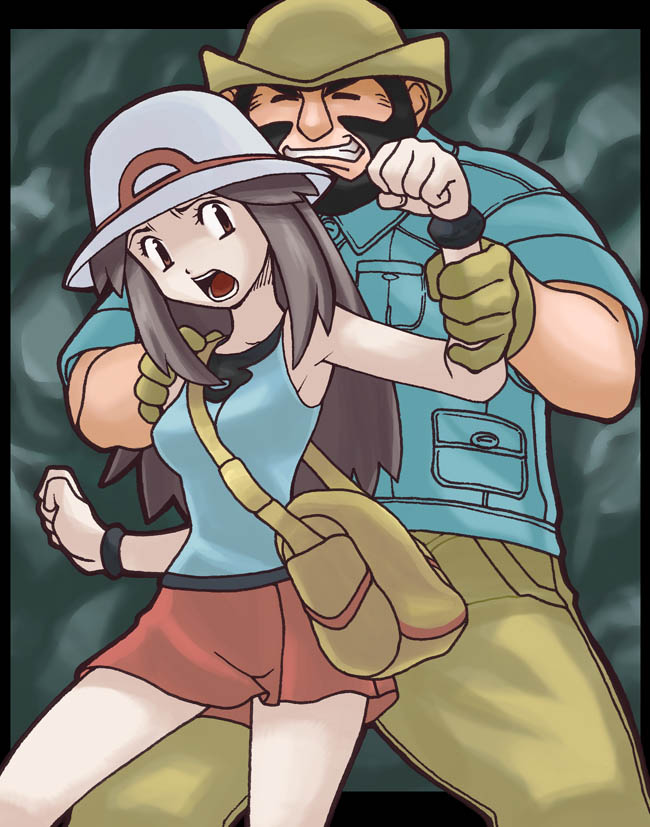 blue and hiker (pokemon, pokemon (game), and pokemon frlg) drawn by aruni