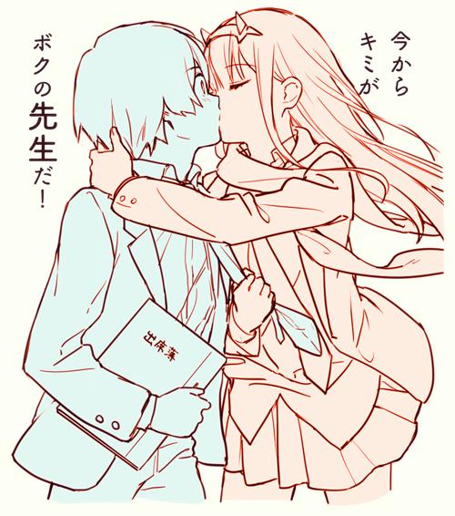 hiro and zero two (darling in the franxx) drawn by toma (norishio)