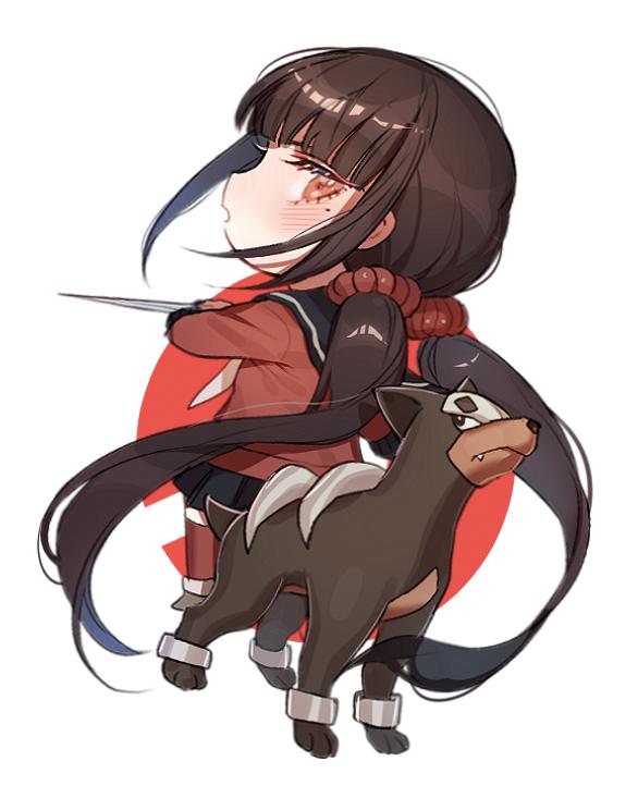 harukawa maki and houndour (danganronpa, new danganronpa v3, and pokemon) drawn by zuizi