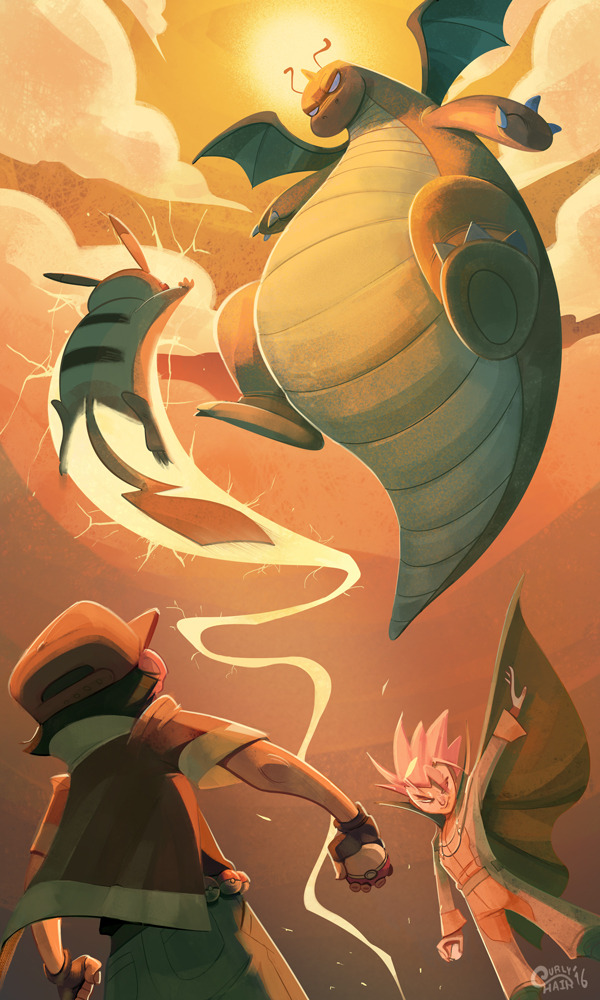 dragonite, pikachu, red, and wataru (pokemon (game) and etc) drawn by curlypie