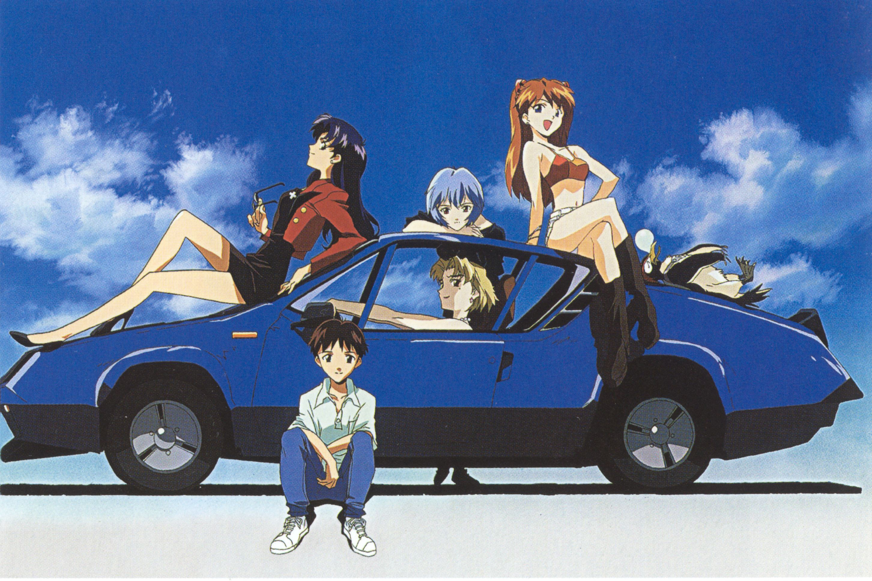 Safebooru - 2boys 3girls arm up ayanami rei barefoot beard ... |Misato Katsuragi Sunglasses