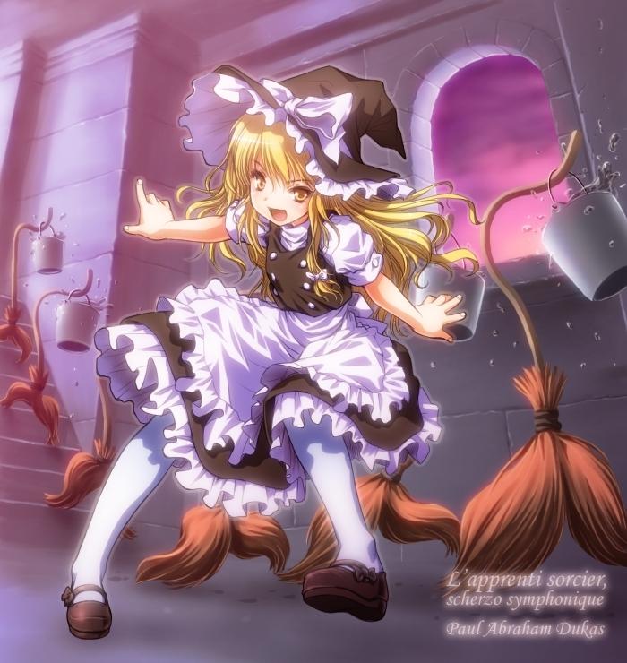 kirisame marisa (fantasia, the sorcerer's apprentice, and touhou) drawn by rendo