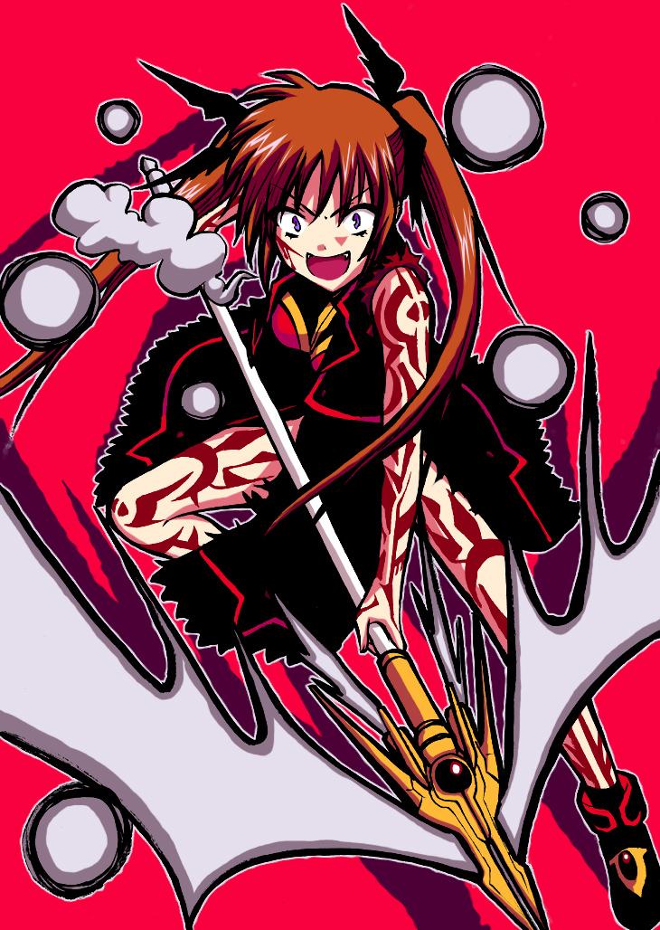 raising heart and takamachi nanoha (lyrical nanoha and mahou shoujo lyrical nanoha strikers) drawn by saki chisuzu