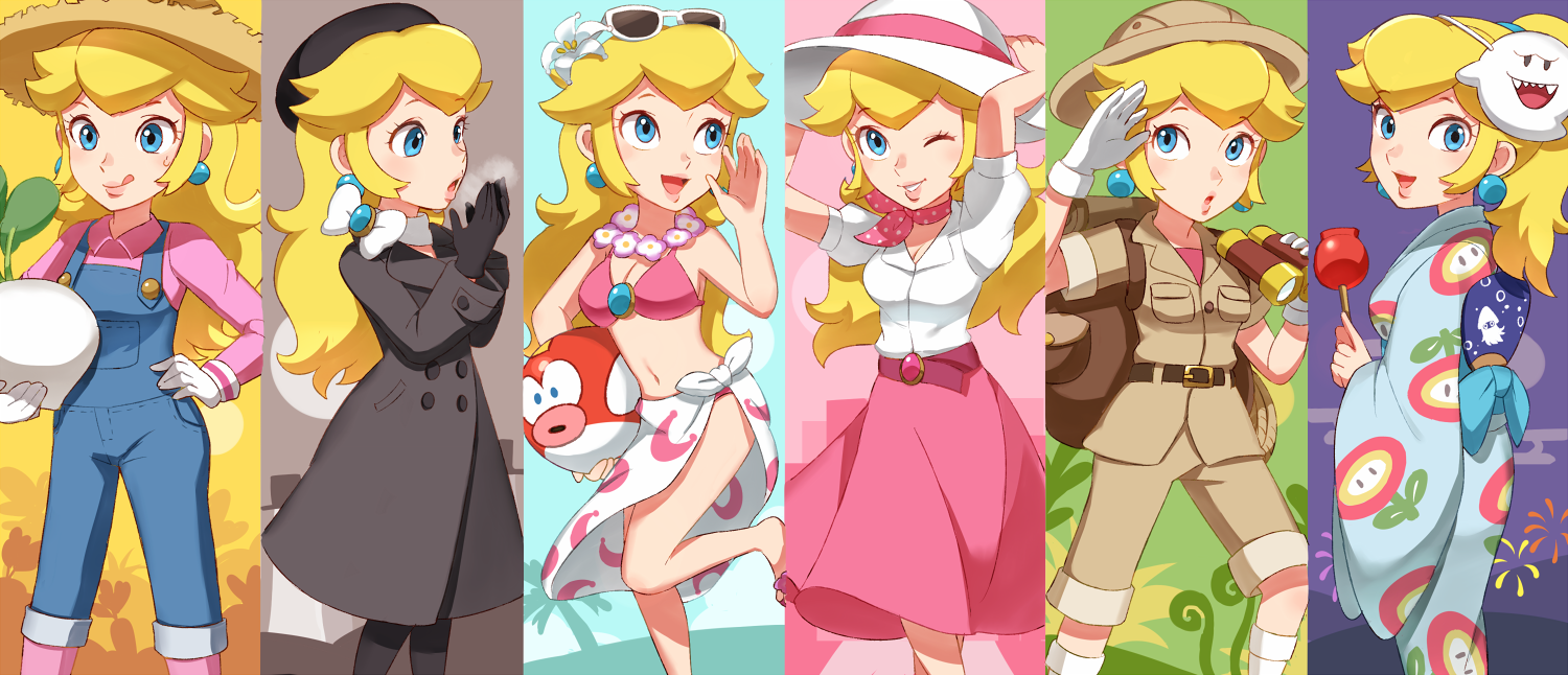 Princess Peach Boo Blooper And Cheep Cheep Mario And 1 More Drawn By Riko Sorube Danbooru