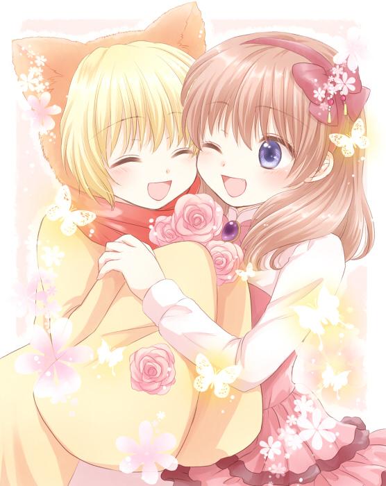 sakutarou and ushiromiya maria (umineko no naku koro ni) drawn by maekawa suu