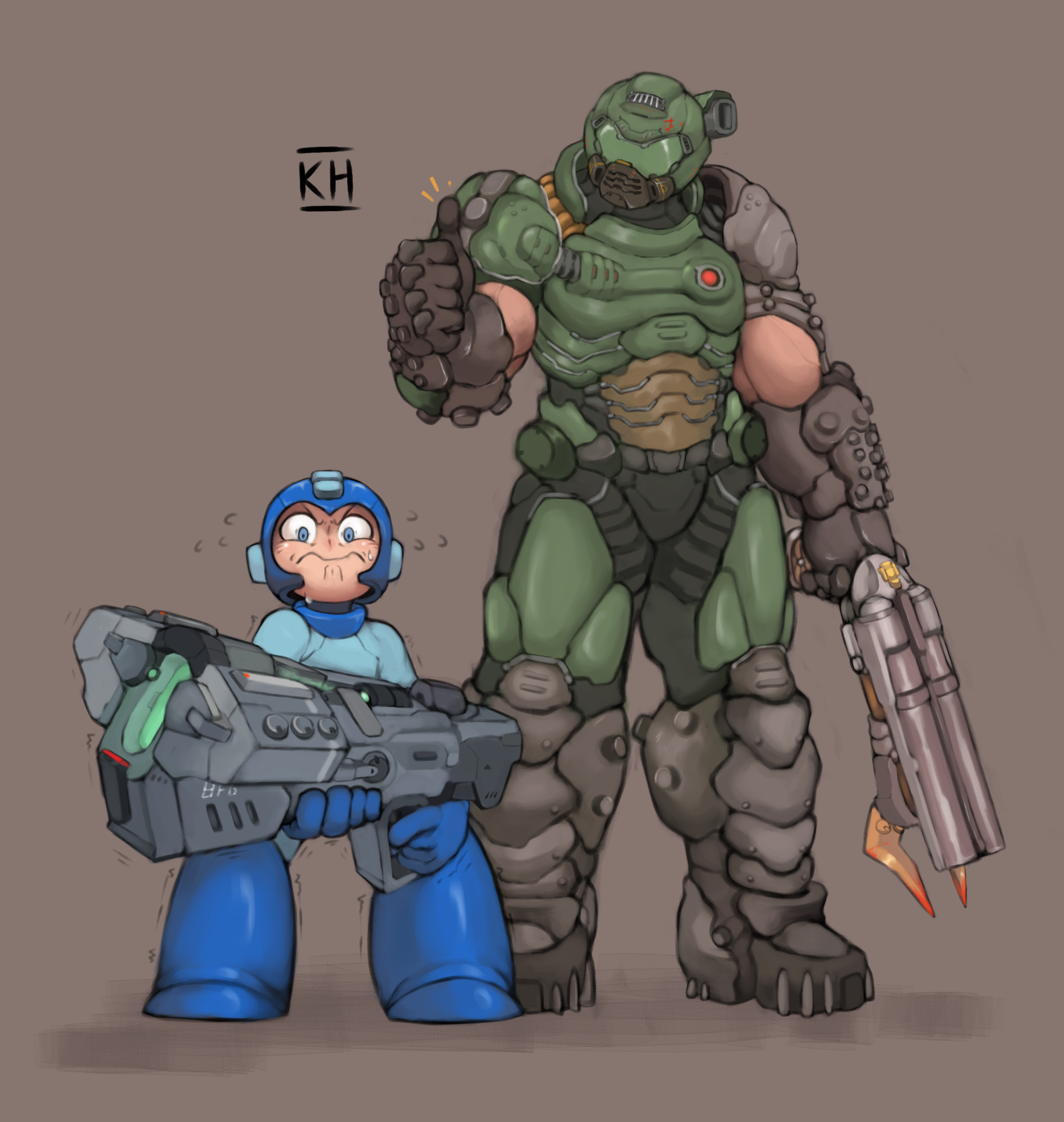Rockman And Doomguy Rockman And 4 More Drawn By Kelvin Hiu