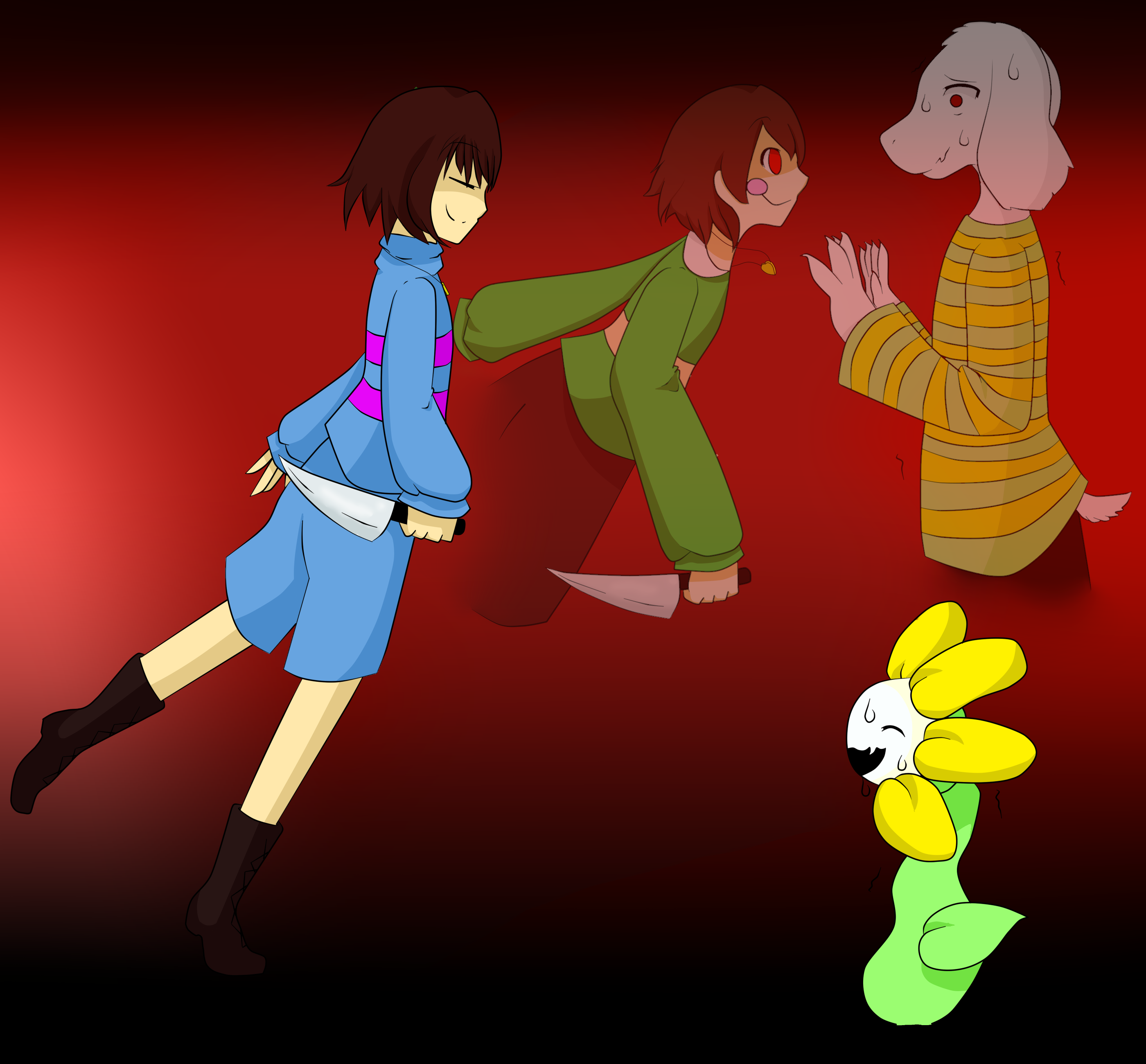 Frisk and chara bloodborne weapons