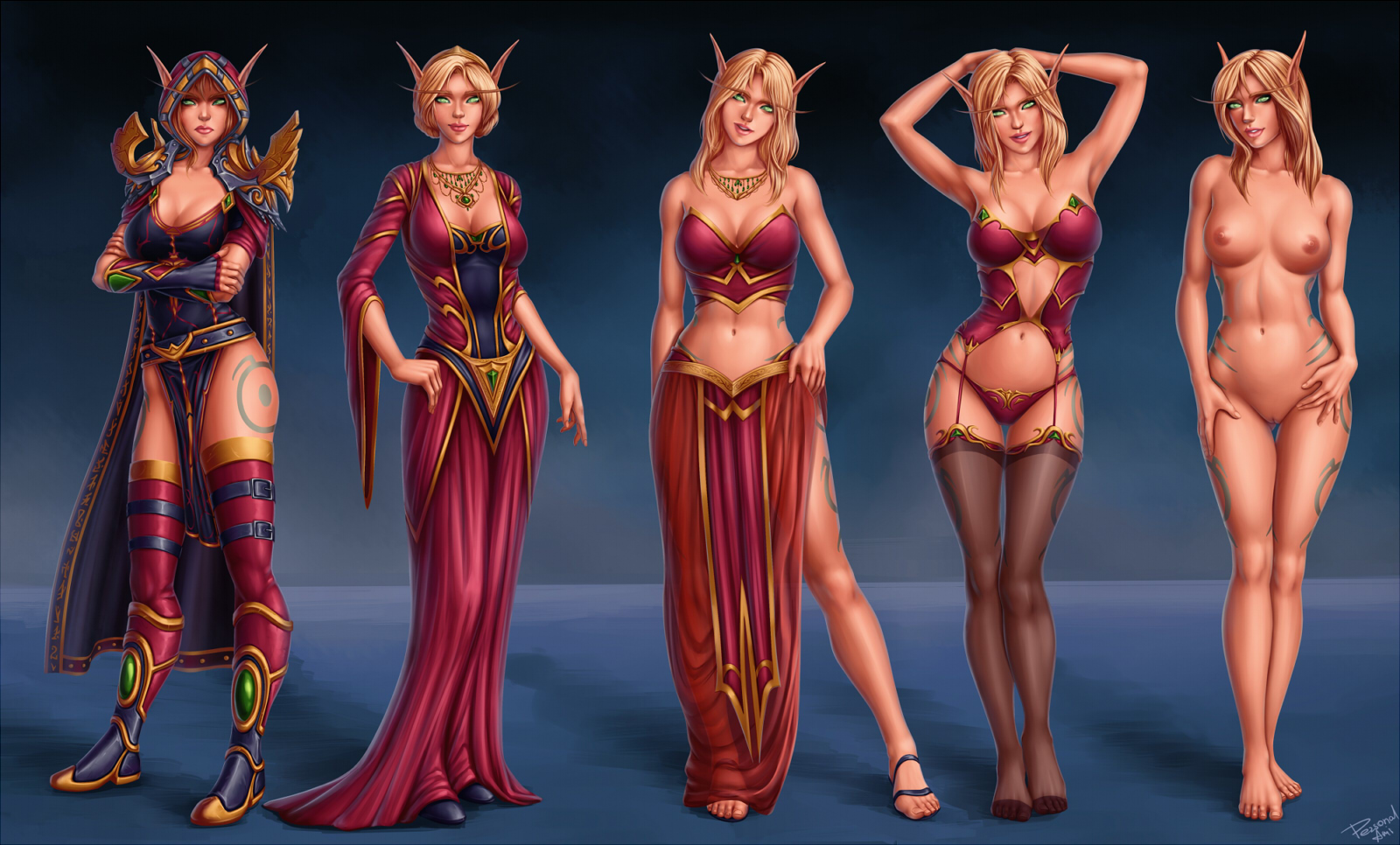Female wow blood nude elf