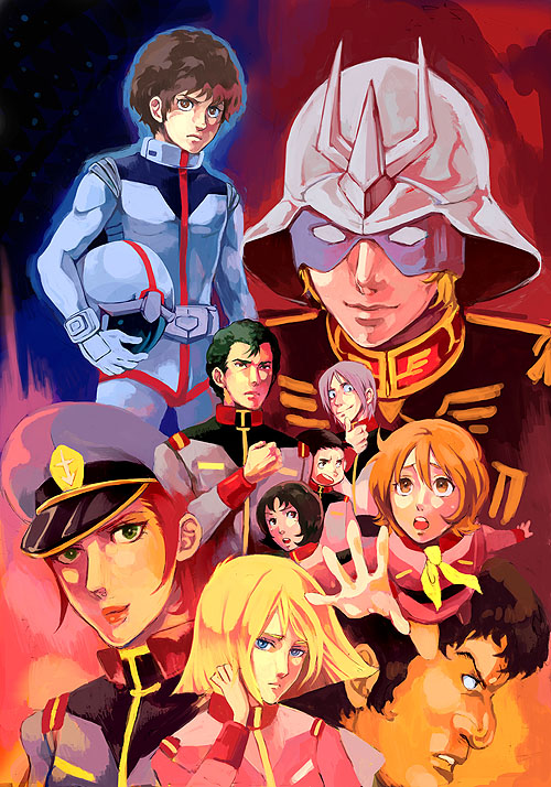 amuro ray, bright noa, char aznable, frau bow, hayato kobayashi, and others (gundam and mobile suit gundam) drawn by lovecom