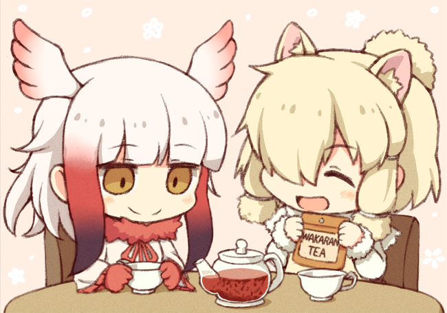 alpaca suri and japanese crested ibis (kemono friends) drawn by kata meguma