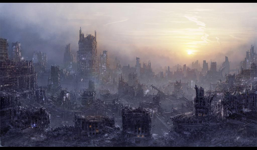 city cityscape daniel_kvasznicza fog landscape letterboxed lights no_humans original post-apocalyptic ruins scenery smoke sunrise