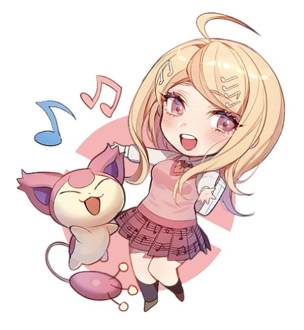 akamatsu kaede and skitty (danganronpa, new danganronpa v3, and pokemon) drawn by zuizi