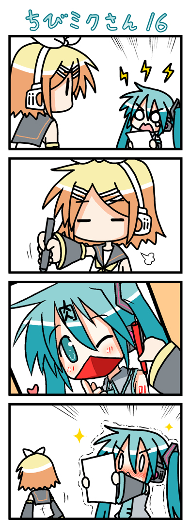 =_= 0_0 4koma angry blush chibi chibi_miku comic hatsune_miku heart kagamine_rin marker minami_(artist) o_o silent_comic tears vocaloid