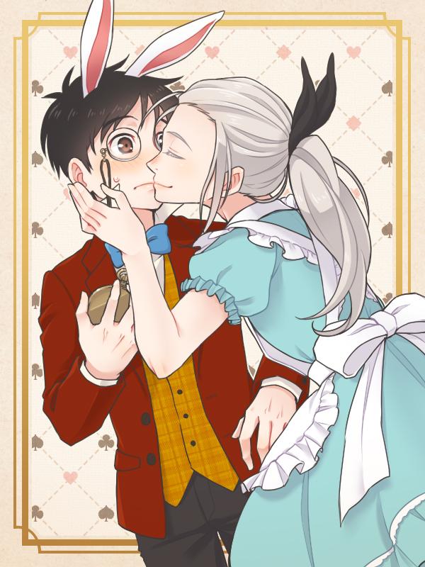 alice, katsuki yuuri, viktor nikiforov, and white rabbit (alice in wonderland and yuri!!! on ice) drawn by ruei (chicking)