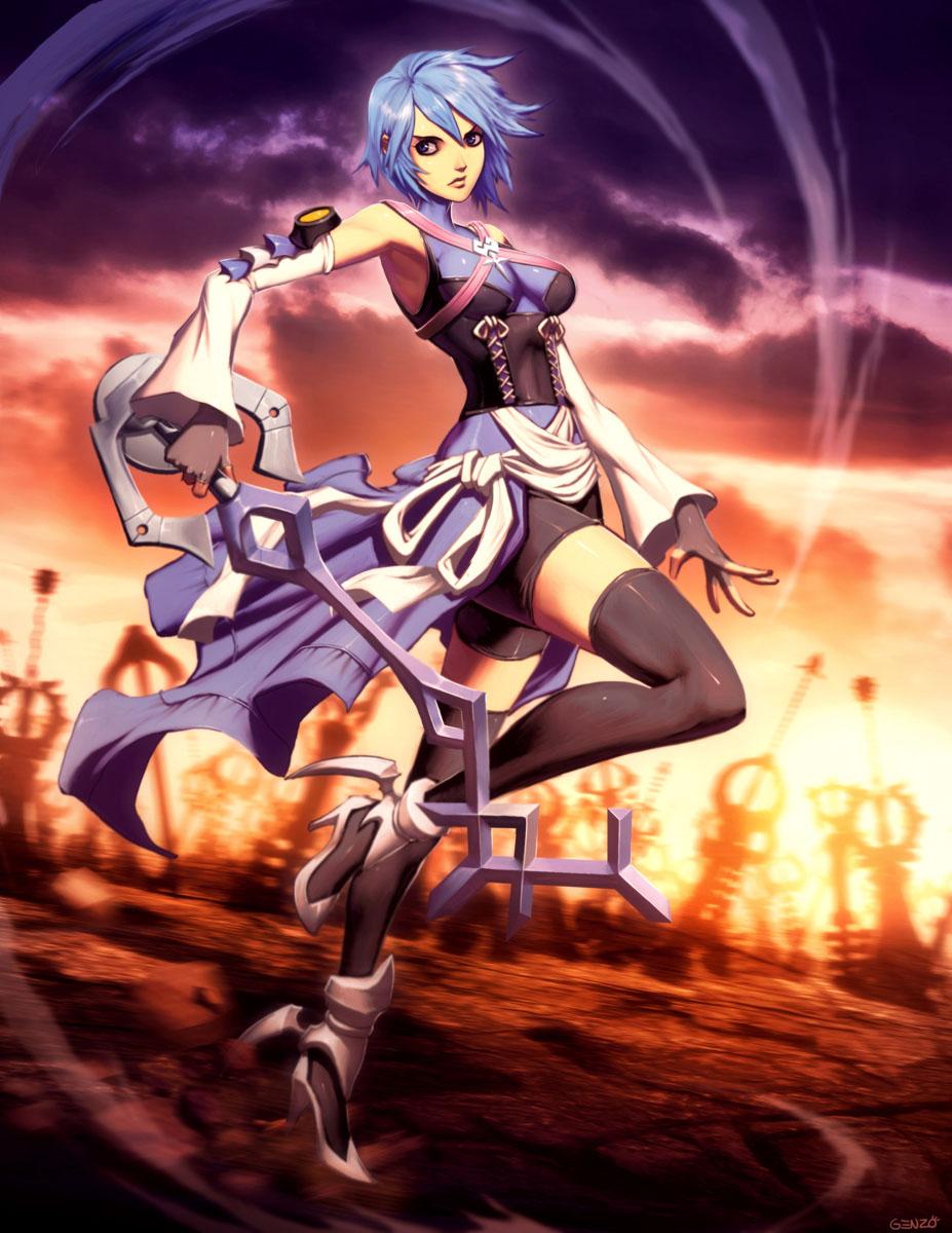 Aqua Kingdom Hearts And 1 More Drawn By Genzoman Danbooru