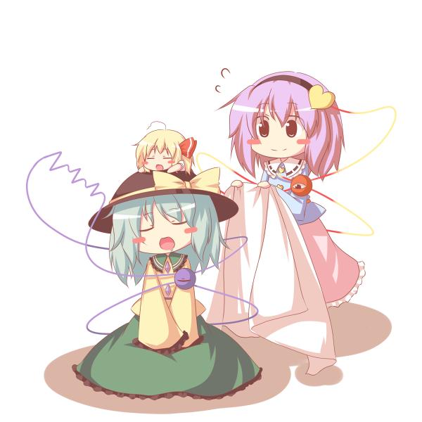 komeiji koishi, komeiji satori, and rumia (touhou) drawn by kousa (black tea)