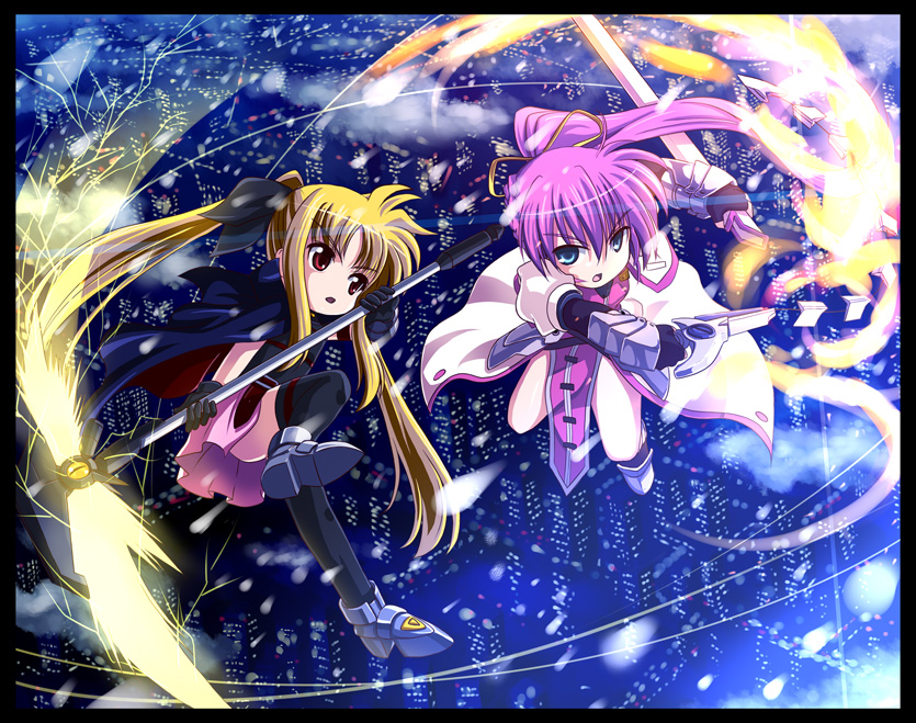 bardiche, fate testarossa, levantine, and signum (lyrical nanoha, mahou shoujo lyrical nanoha, and mahou shoujo lyrical nanoha a's) drawn by yone