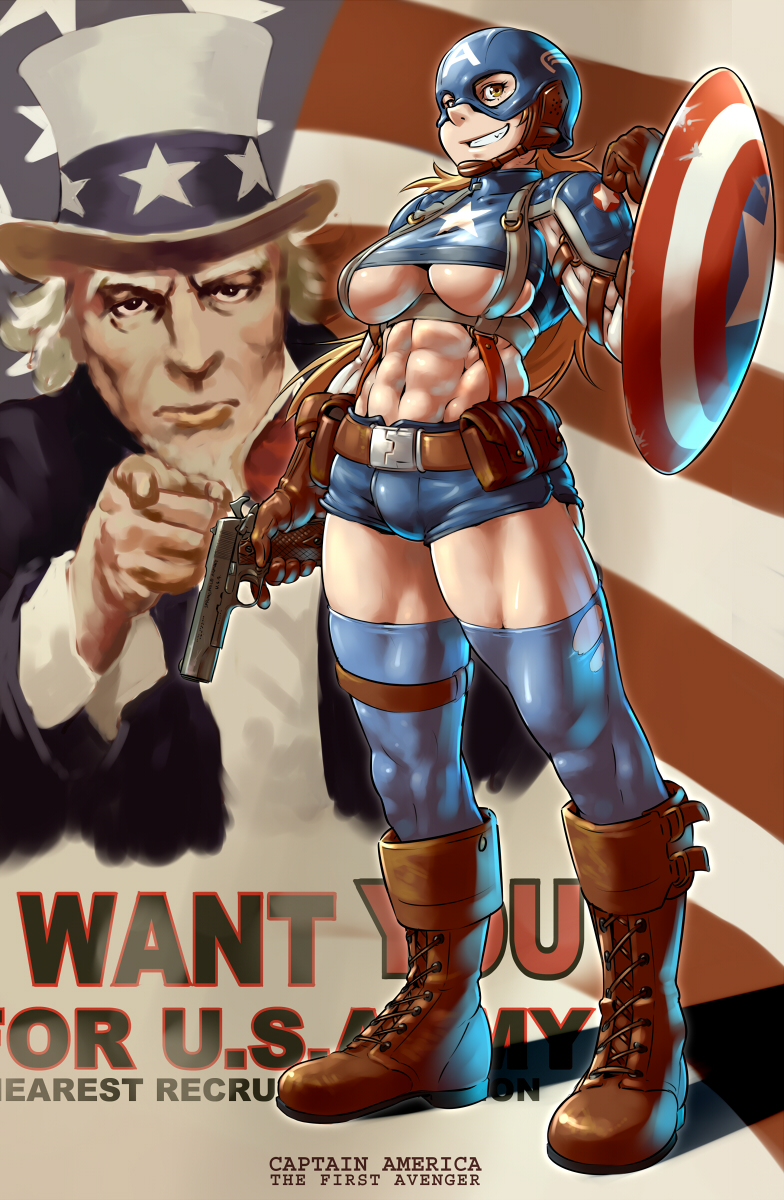 Captain America Cartoon Porn - captain america, steve rogers, and uncle sam (i want you and marvel) drawn  by mikoyan - Danbooru