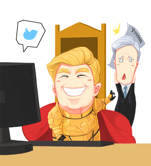 donald trump and emperor of mankind (real life, twitter, and warhammer 40k) drawn by sima naoteng
