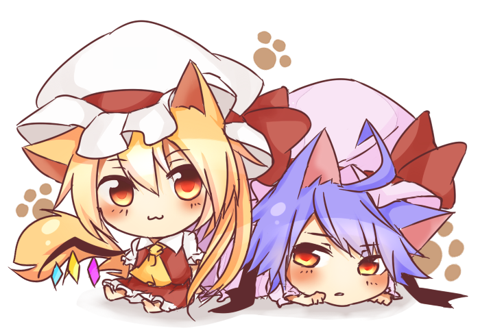 flandre scarlet and remilia scarlet (touhou) drawn by tosura-ayato