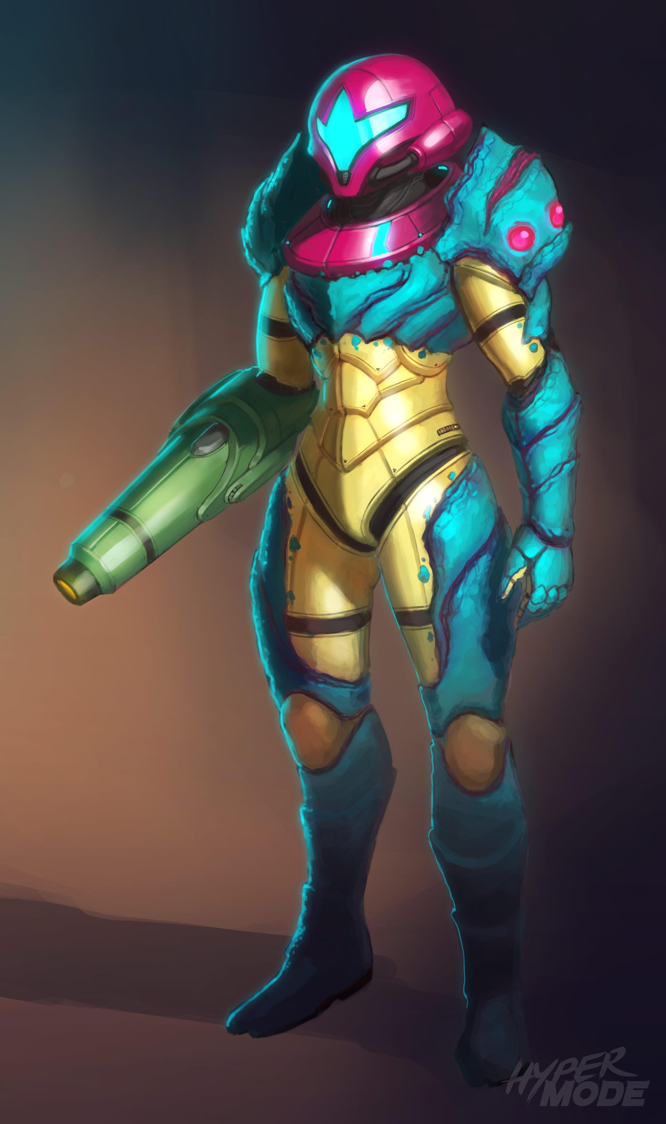 Samus Aran Metroid And Metroid Fusion Drawn By Dave Lopez