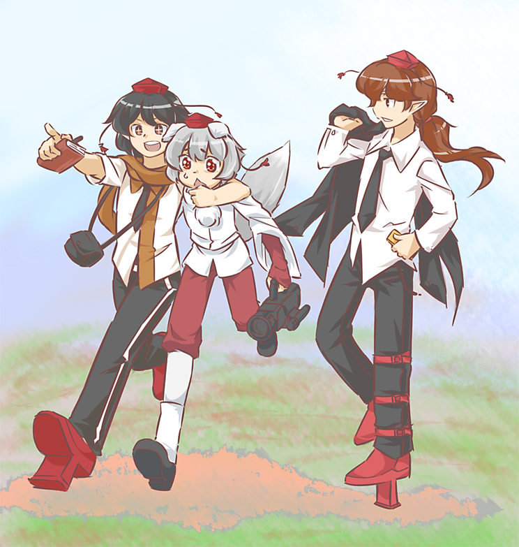 himekaidou hatate, inubashiri momiji, and shameimaru aya (touhou) drawn by kooricha