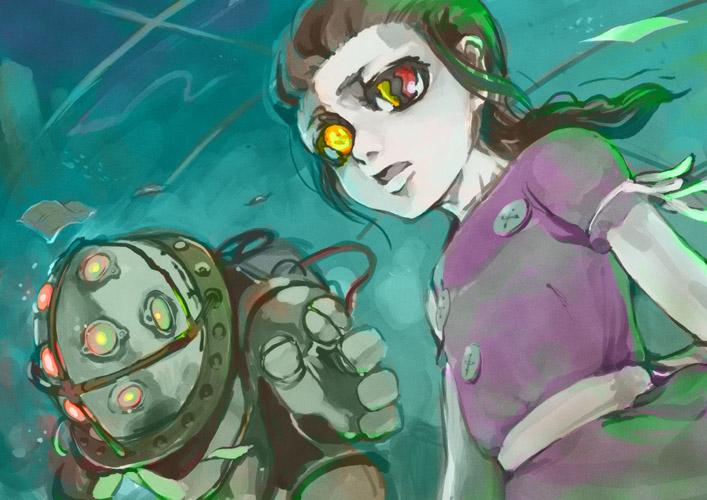 big daddy and little sister (bioshock and bioshock 1) drawn by rokumen saikoro