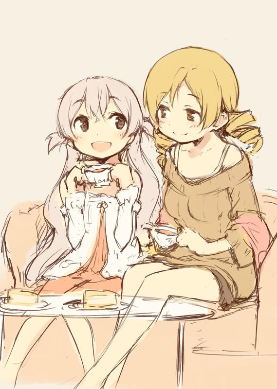 momoe nagisa and tomoe mami (mahou shoujo madoka magica) drawn by kyuri
