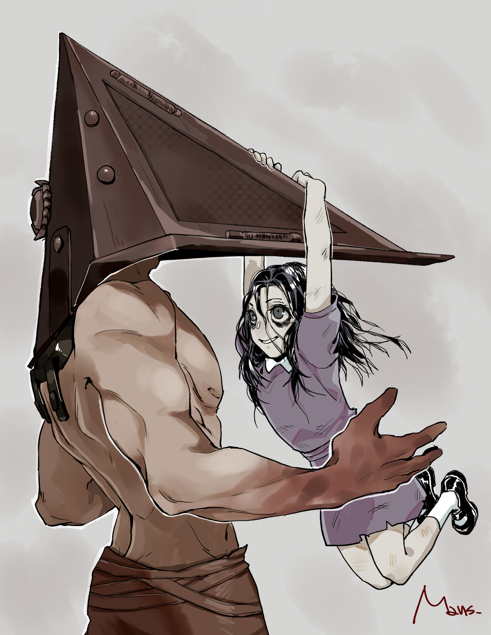 Pyramid Head And Alessa Gillespie Silent Hill And 1 More Drawn