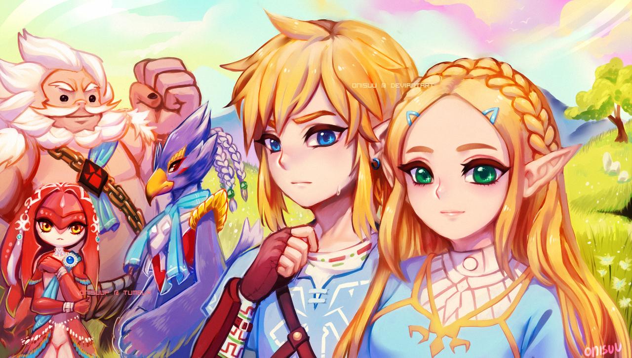 Link, Mipha, And Princess Zelda (the Legend Of Zelda And