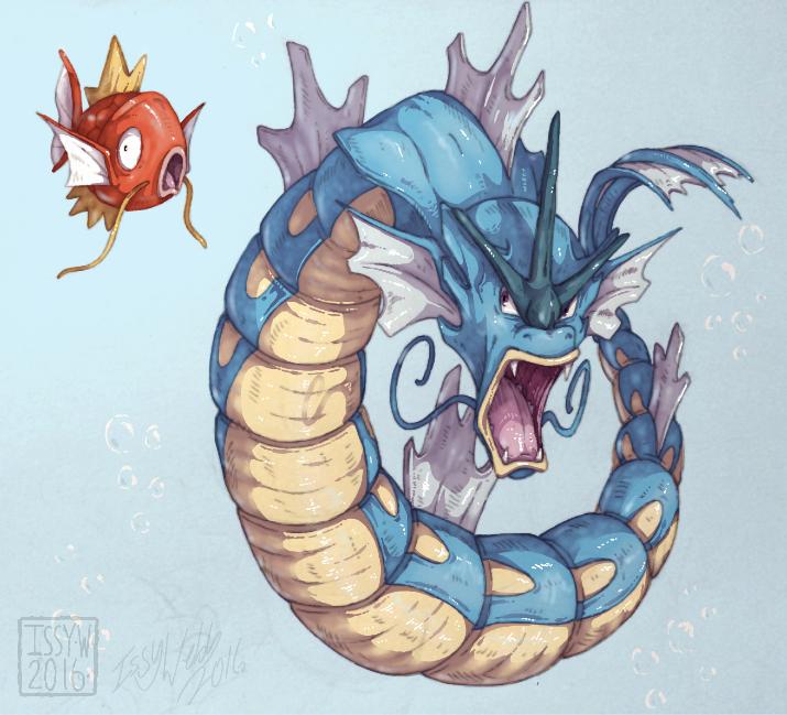 gyarados and magikarp (pokemon) drawn by etherealhaze | Danbooru