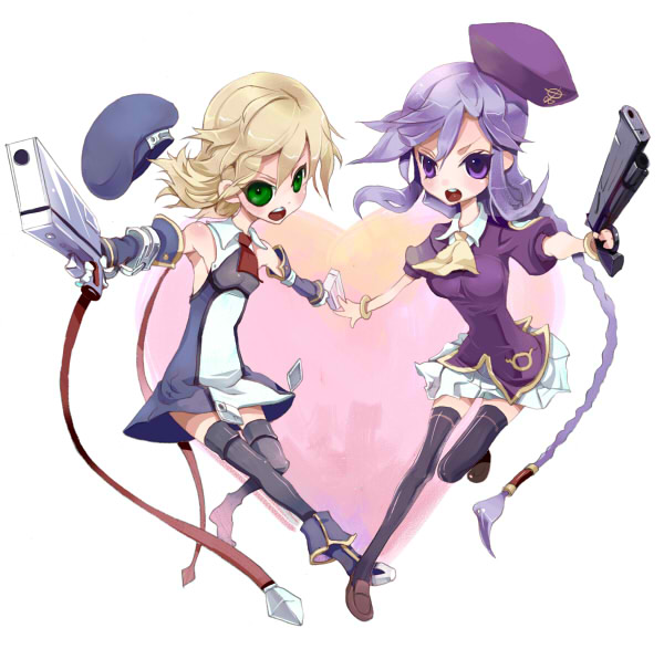 noel vermillion and sion eltnam atlasia (blazblue, melty blood, and tsukihime) drawn by nekoda kuro